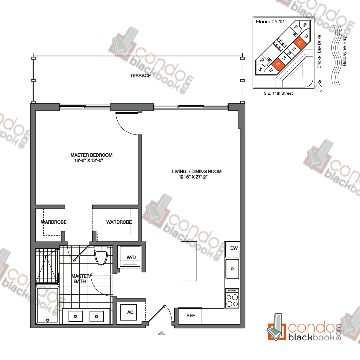 Floor plan for Brickell House Brickell Miami, model A6_6-12, line 03, 07, 1/1 bedrooms, 792 sq ft