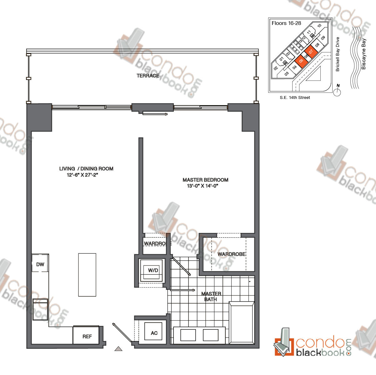 Floor plan for Brickell House Brickell Miami, model A7_16-28, line 05, 07, 1/1 bedrooms, 752 sq ft