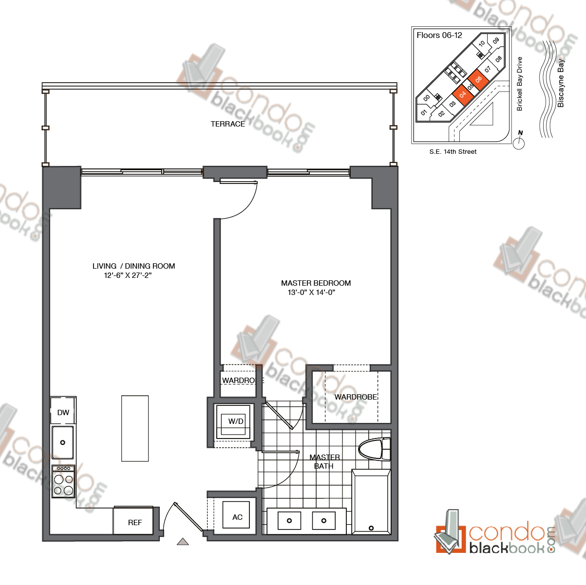 Floor plan for Brickell House Brickell Miami, model A7_6-12, line 04, 06, 1/1 bedrooms, 752 sq ft