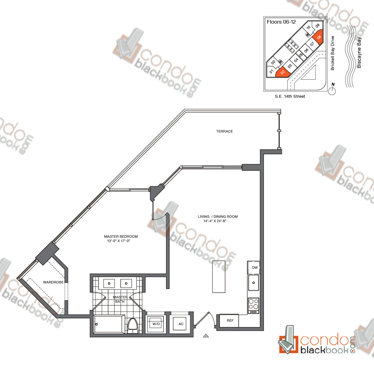 Floor plan for Brickell House Brickell Miami, model A8_6-12, line 02, 08, 1/1 bedrooms, 810 sq ft