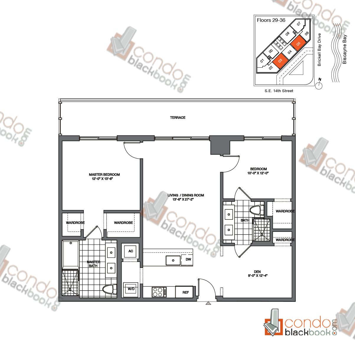Floor plan for Brickell House Brickell Miami, model B2_29-36, line 03, 05, 2/2.5 + Den bedrooms, 1,183 sq ft