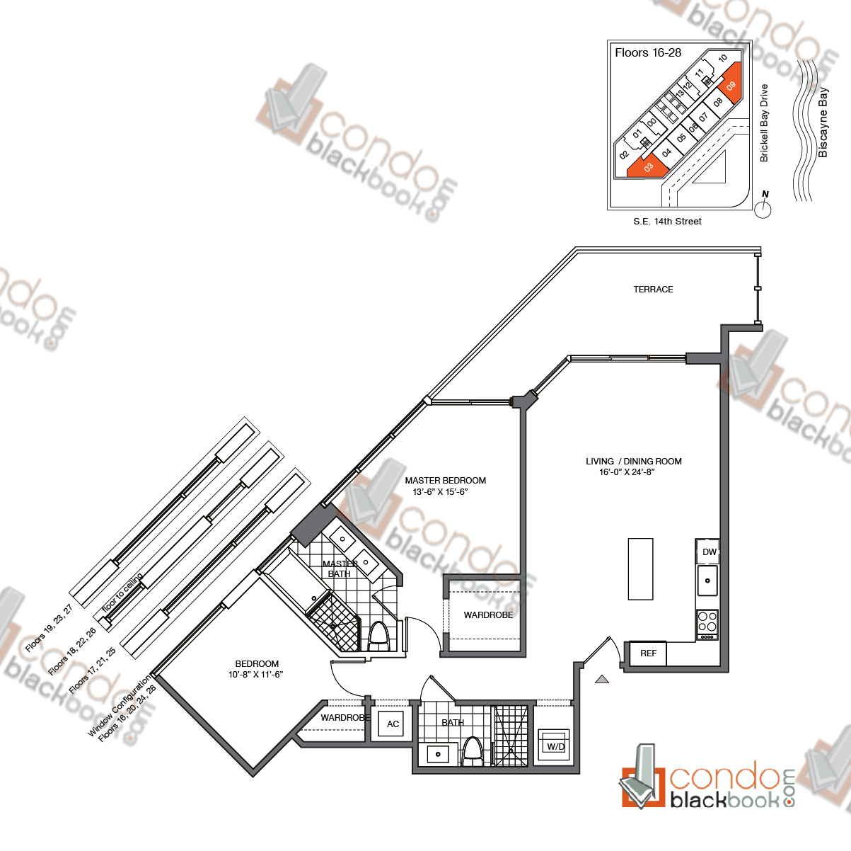 Floor plan for Brickell House Brickell Miami, model B4_16-28, line 03, 09, 2/2 bedrooms, 1,139 sq ft