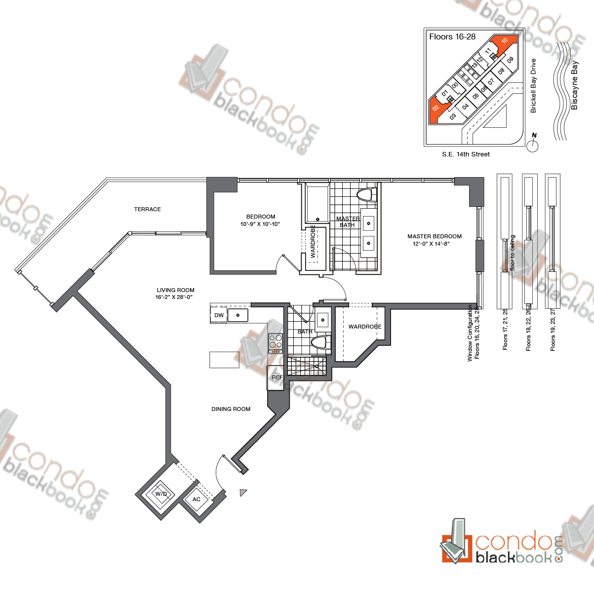 Floor plan for Brickell House Brickell Miami, model B5_16-28, line 02, 10, 2/2 bedrooms, 1,116 sq ft