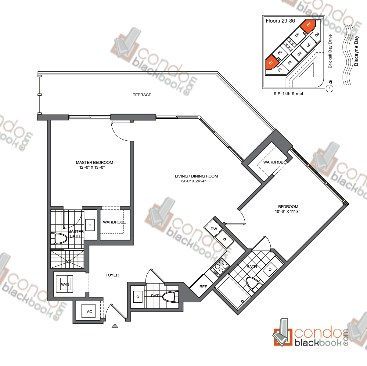 Floor plan for Brickell House Brickell Miami, model B6_29-36, line 01, 07, 2/2.5 bedrooms, 1,105 sq ft