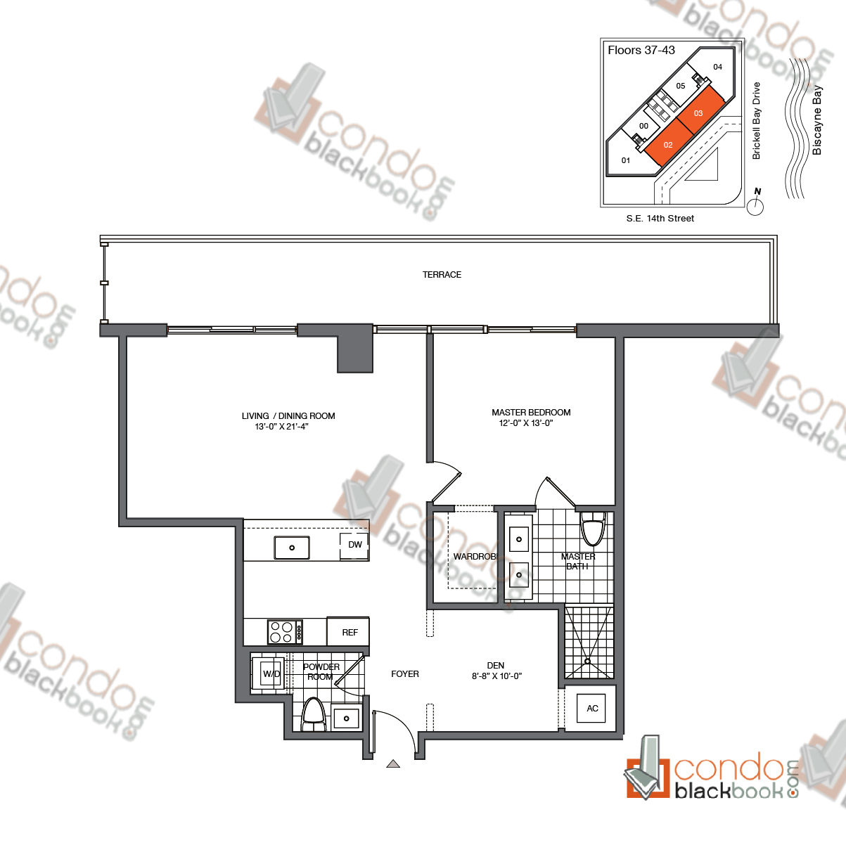 Floor plan for Brickell House Brickell Miami, model B7_37-43, line 02, 03, 2/3 + Den bedrooms, 1,775 sq ft
