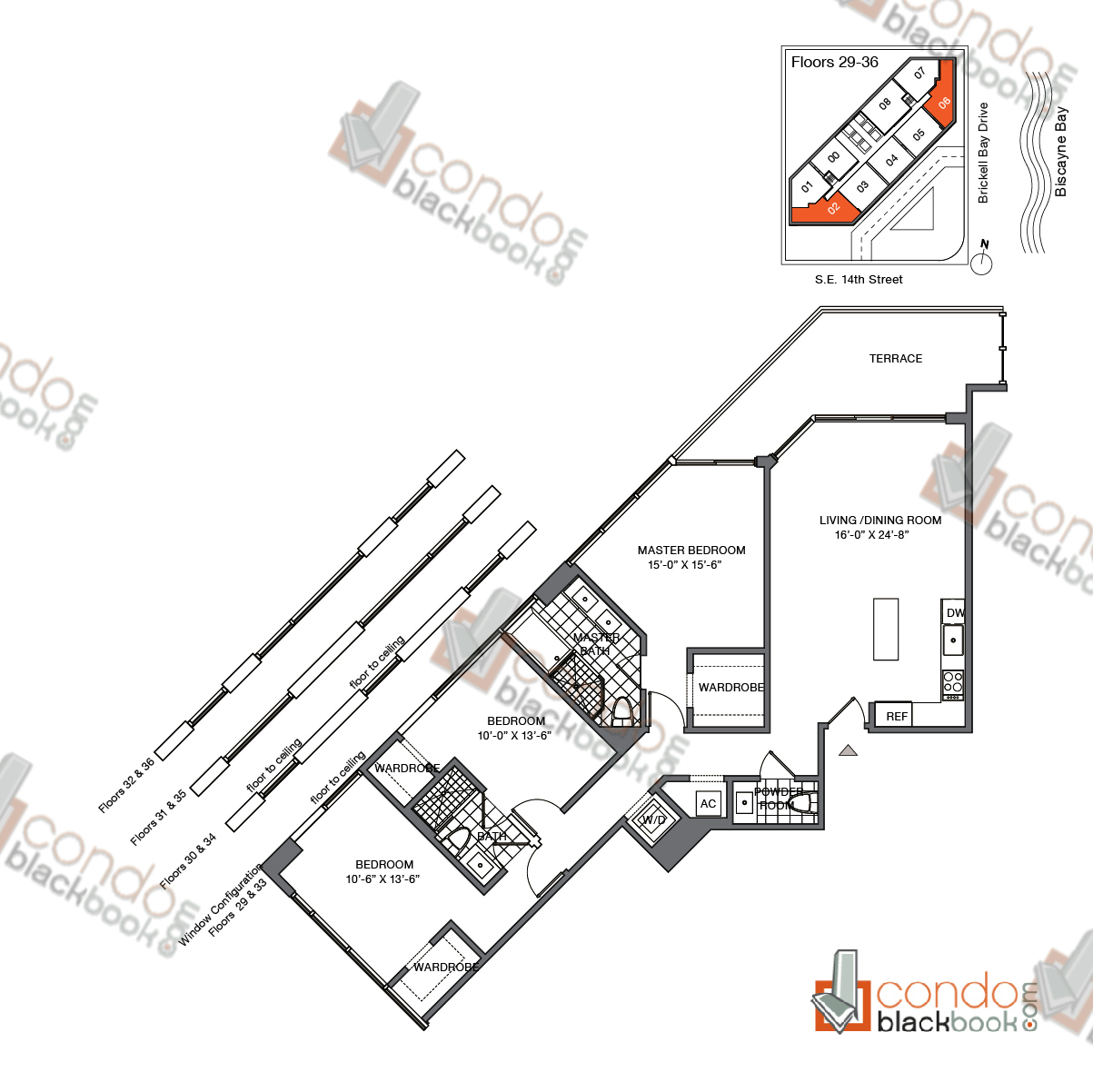 Floor plan for Brickell House Brickell Miami, model C1_29-36, line 02, 06, 3/2.5 bedrooms, 1,451 sq ft