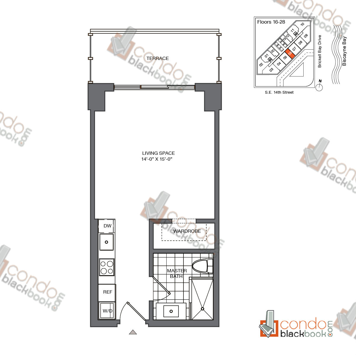 Floor plan for Brickell House Brickell Miami, model S1_16-28, line 06, 0/1 bedrooms, 420 sq ft