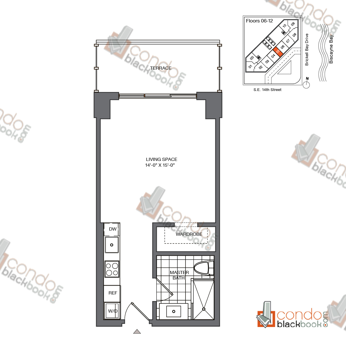 Floor plan for Brickell House Brickell Miami, model S1_6-12, line 05, 0/1 bedrooms, 420 sq ft