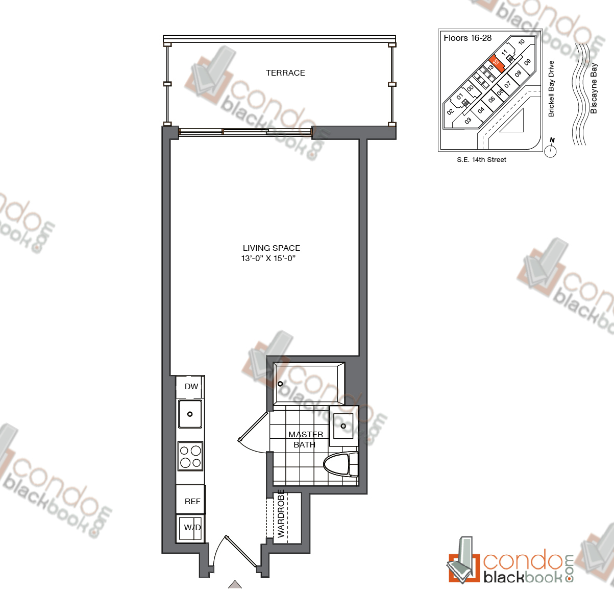 Floor plan for Brickell House Brickell Miami, model S3_16-28, line 12, 0/1 bedrooms, 400 sq ft