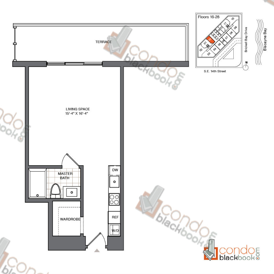 Floor plan for Brickell House Brickell Miami, model S4_16-28, line 00, 0/1 bedrooms, 486 sq ft