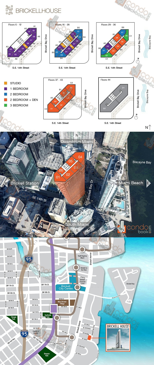 Brickell House floorplan and site plan