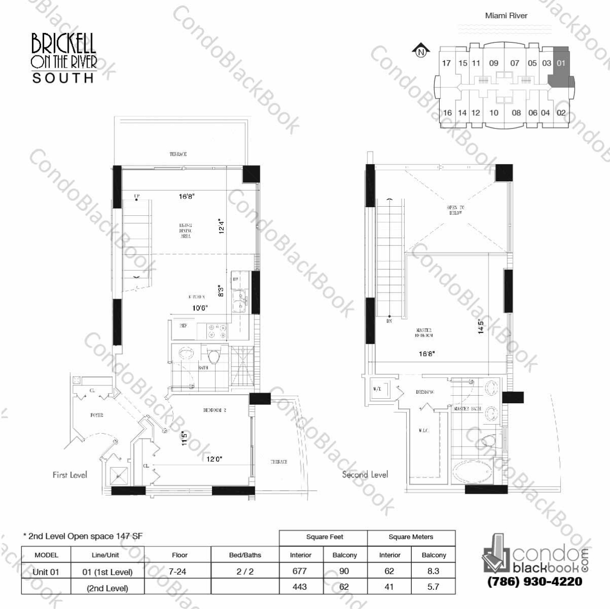 Floor plan for Brickell on the River North Brickell Miami, model Unit 01, line 01, 2 / 2 bedrooms, 1120 sq ft