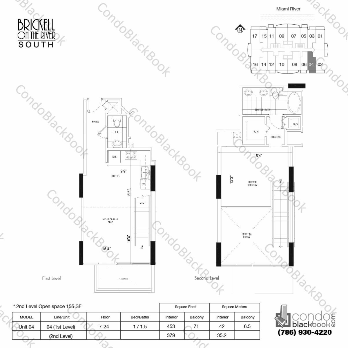Floor plan for Brickell on the River North Brickell Miami, model Unit 04, line 04, 1/1.5 bedrooms, 832 sq ft