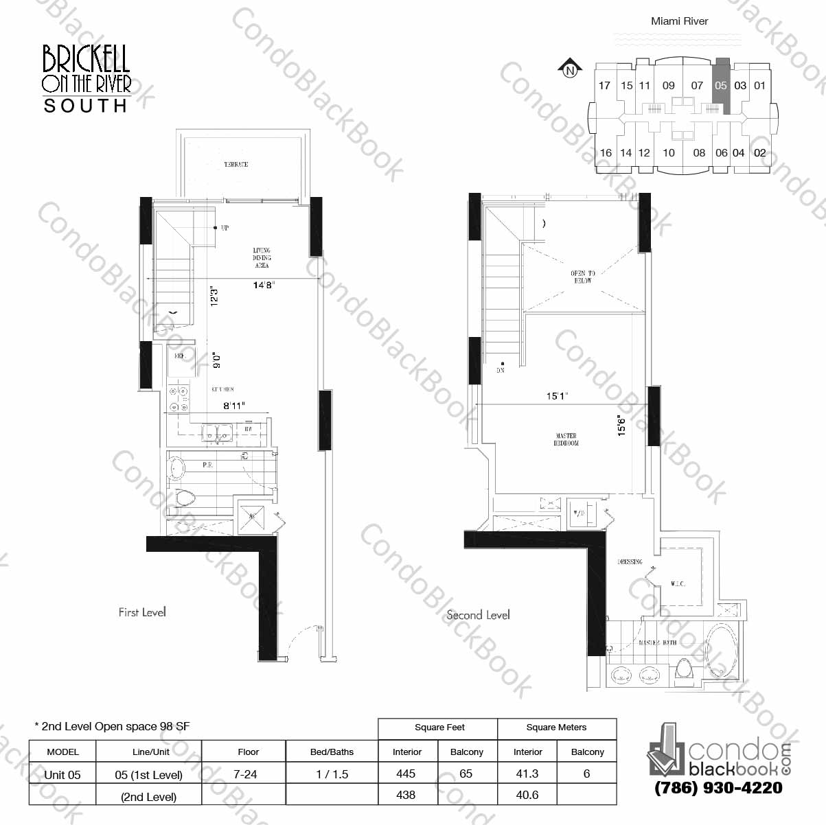 Floor plan for Brickell on the River North Brickell Miami, model Unit 05, line 05, 1/1.5 bedrooms, 883 sq ft