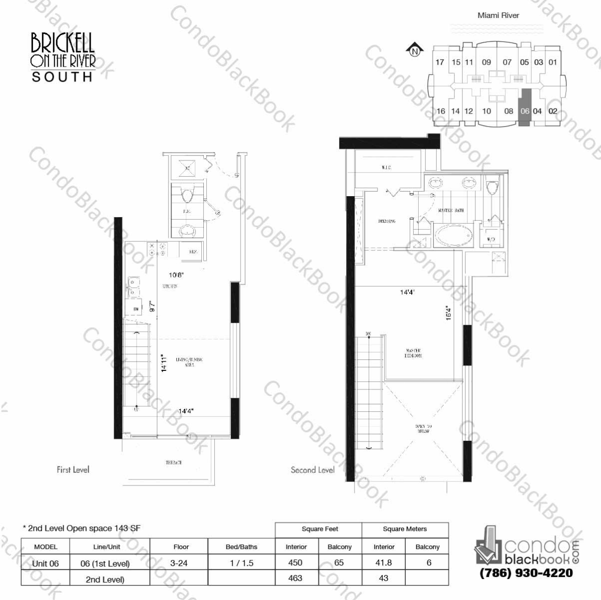 Floor plan for Brickell on the River North Brickell Miami, model Unit 06, line 06, 1.1/5 bedrooms, 913 sq ft