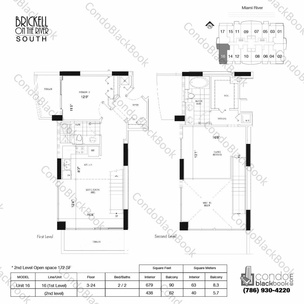 Floor plan for Brickell on the River North Brickell Miami, model Unit 16, line 16, 2/2 bedrooms, 1117 sq ft