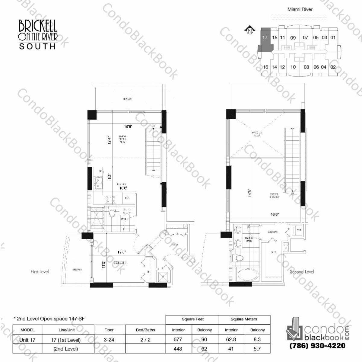 Floor plan for Brickell on the River North Brickell Miami, model Unit 17, line 17, 2/2 bedrooms, 1120 sq ft