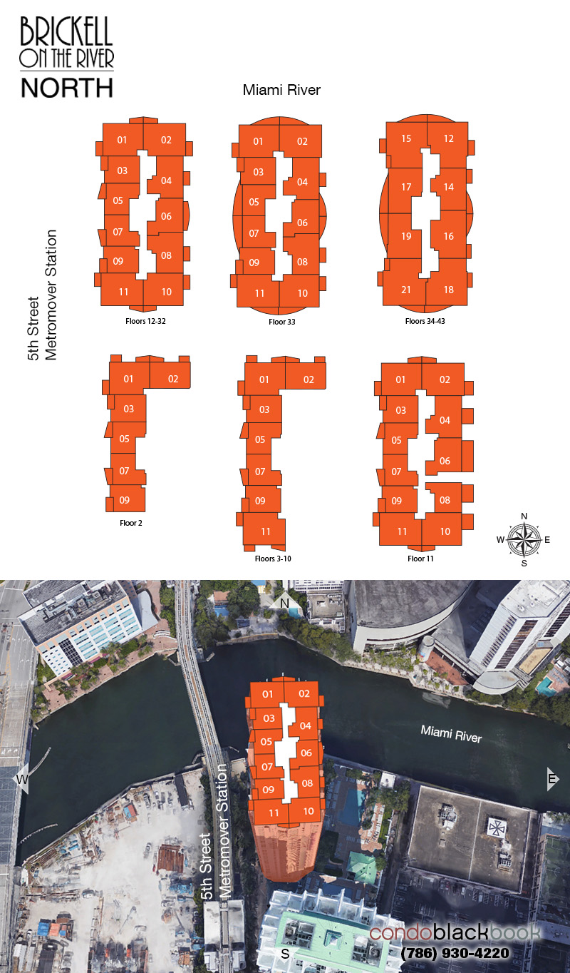 Brickell on the River North floorplan and site plan