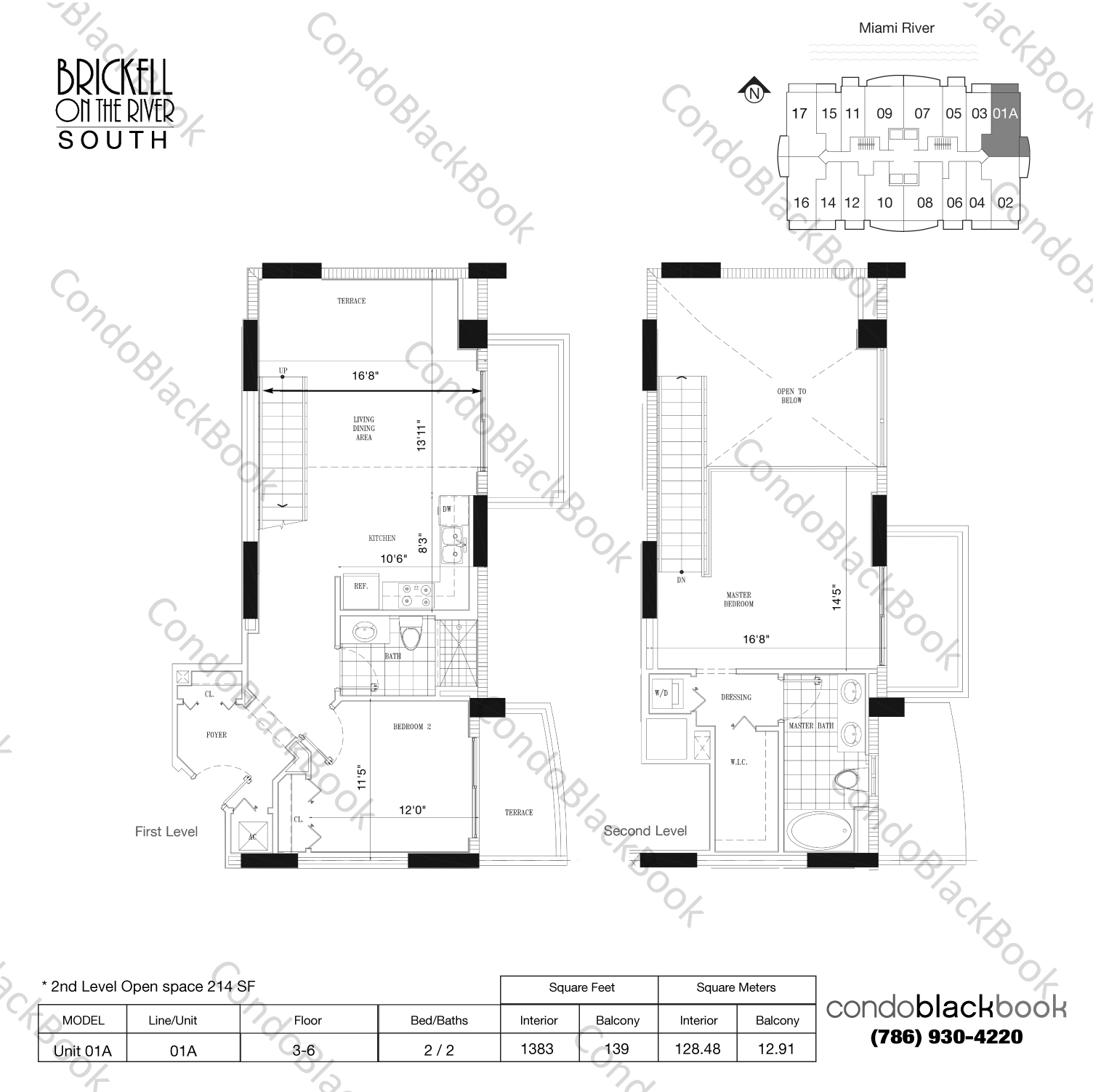 Floor plan for Brickell on the River South Brickell Miami, model Unit 01A, line 01, 2 / 2 bedrooms, 1169 sq ft