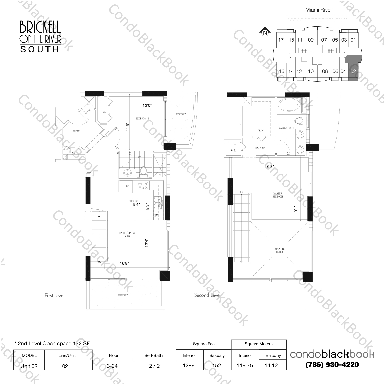 Floor plan for Brickell on the River South Brickell Miami, model Unit 02, line 02, 2 / 2 bedrooms, 1117 sq ft