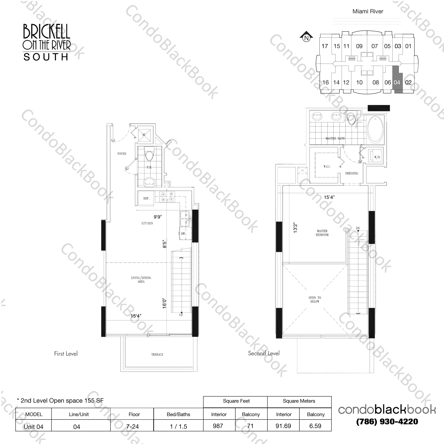 Floor plan for Brickell on the River South Brickell Miami, model Unit 04, line 04, 1/1.5 bedrooms, 832 sq ft