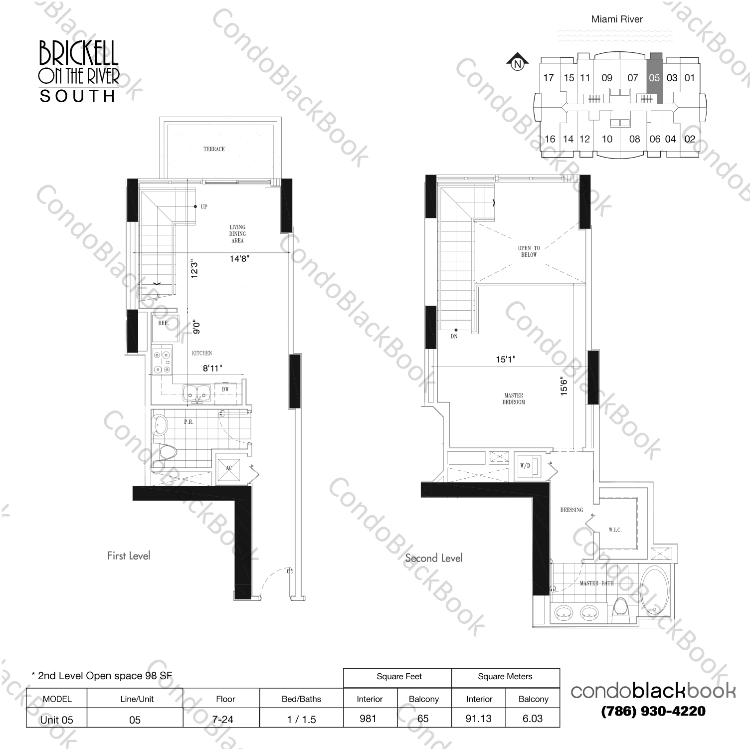 Floor plan for Brickell on the River South Brickell Miami, model Unit 05, line 05, 1/1.5 bedrooms, 883 sq ft