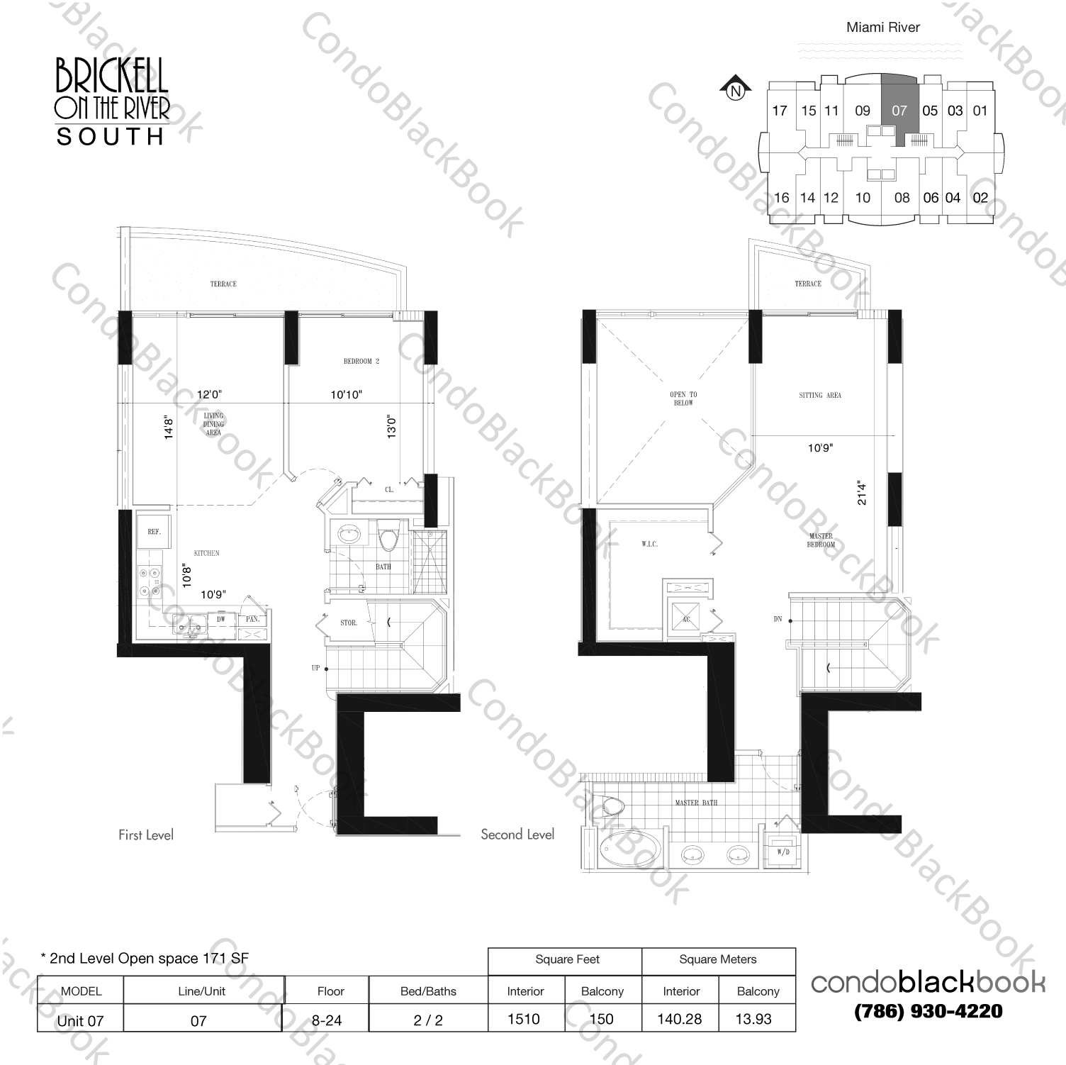 Floor plan for Brickell on the River South Brickell Miami, model Unit 07, line 07, 2/2 bedrooms, 1339 sq ft