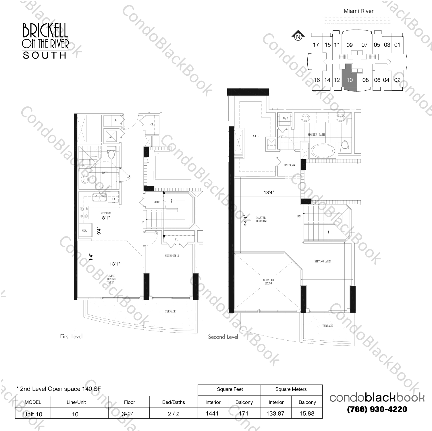 Floor plan for Brickell on the River South Brickell Miami, model Unit 10, line 10, 2/2 bedrooms, 1301 sq ft