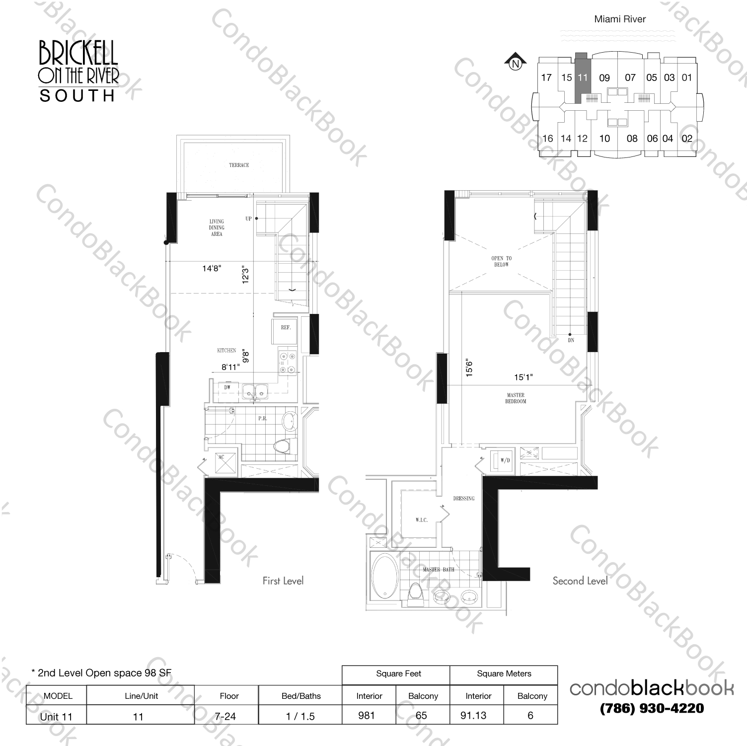 Floor plan for Brickell on the River South Brickell Miami, model Unit 11, line 11, 1/1.5 bedrooms, 883 sq ft