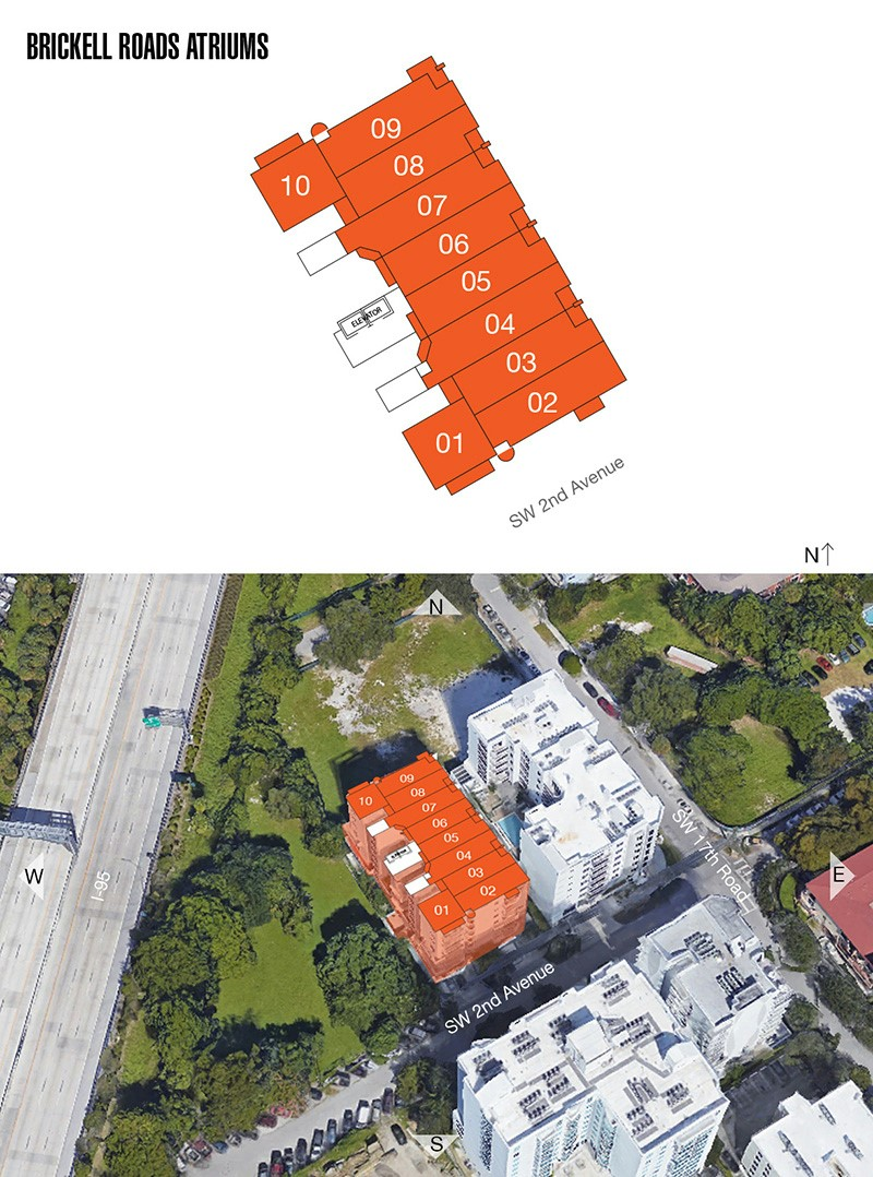 Brickell Roads Atriums floorplan and site plan