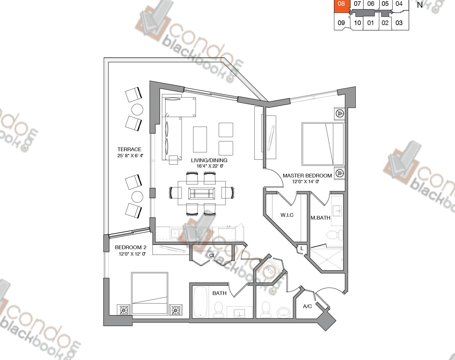 Floor plan for Brickell Ten Brickell Miami, model Residence Eight, line 08, 2/2.5 bedrooms, 1,111 sq ft