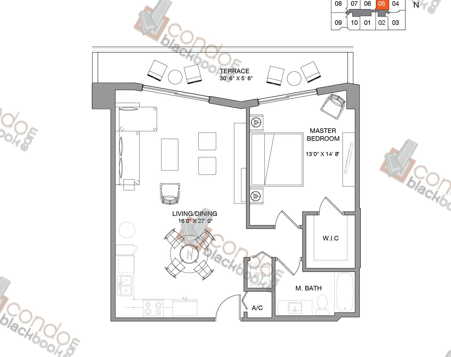 Floor plan for Brickell Ten Brickell Miami, model Residence Five, line 05,  1/1 bedrooms, 827 sq ft