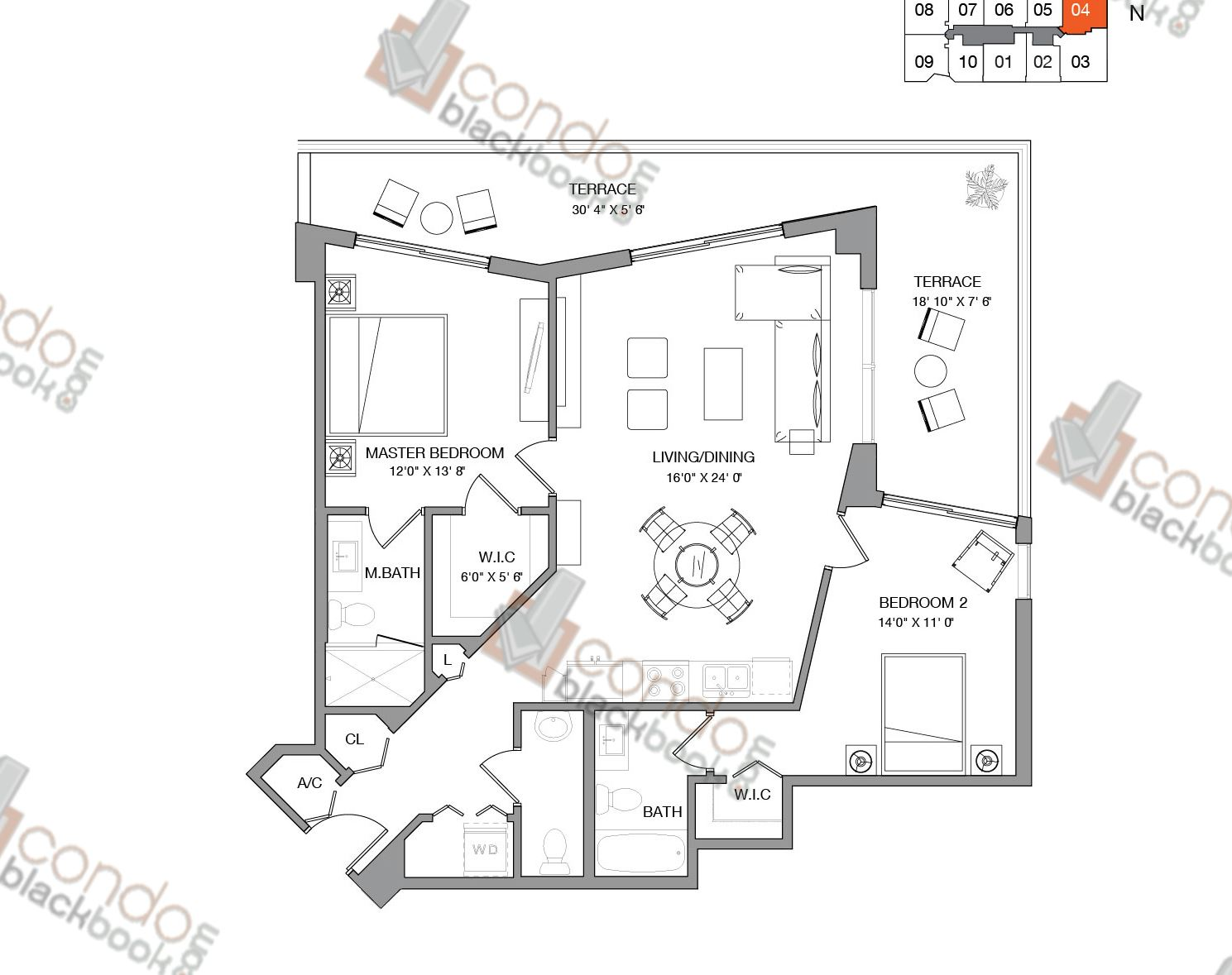 Floor plan for Brickell Ten Brickell Miami, model Residence Four, line 04, 2/2.5 bedrooms, 1,124 sq ft