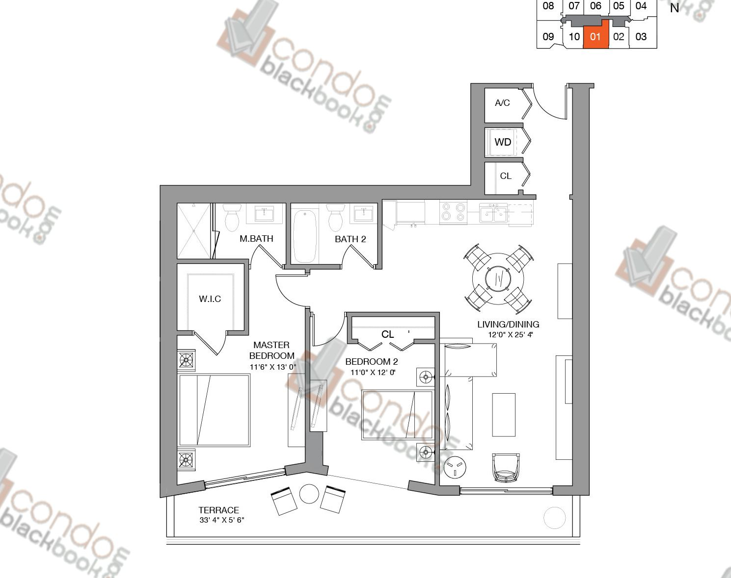 Floor plan for Brickell Ten Brickell Miami, model Residence One, line 01, 2/2 bedrooms, 1,064 sq ft