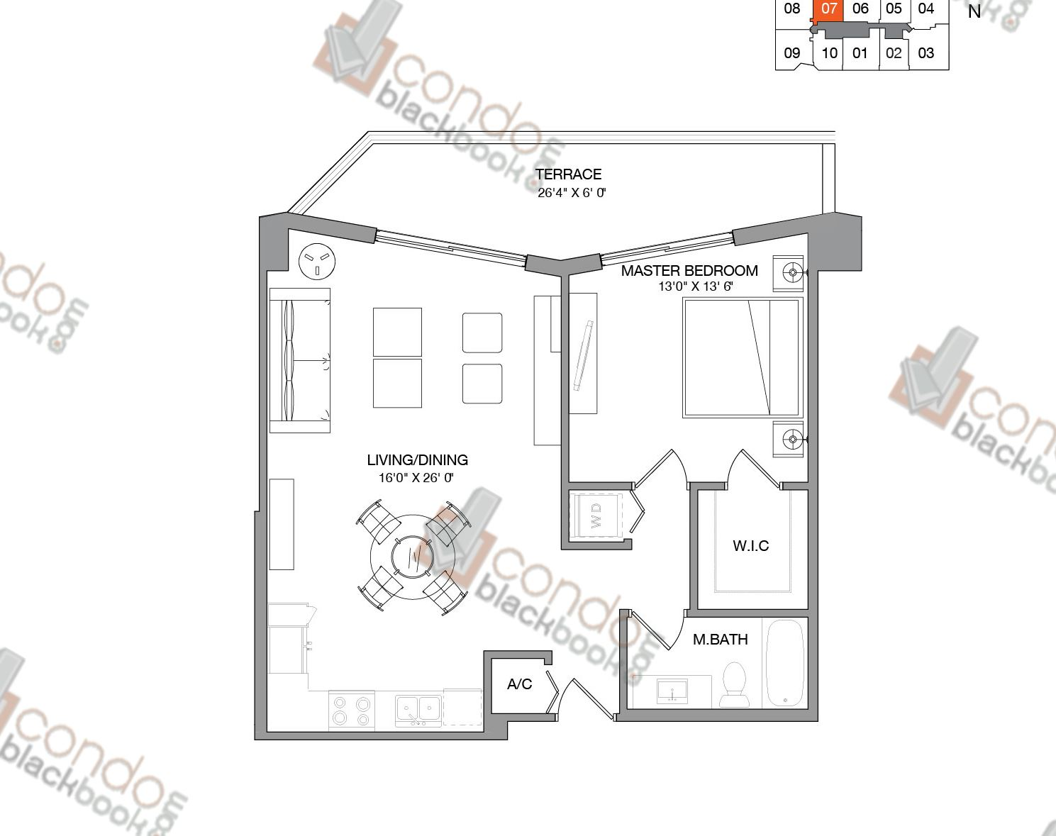Floor plan for Brickell Ten Brickell Miami, model Residence Seven, line 07,  1/1 bedrooms, 792 sq ft