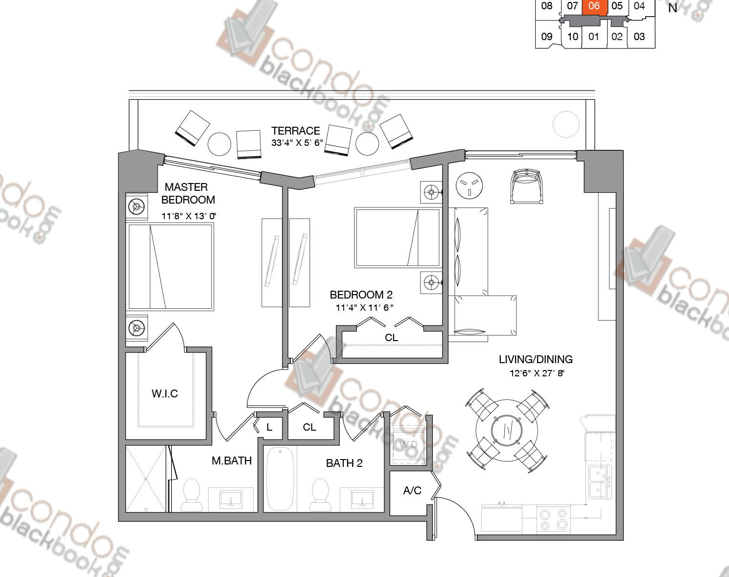 Floor plan for Brickell Ten Brickell Miami, model Residence Six, line 06,  2/2 bedrooms, 1,009 sq ft