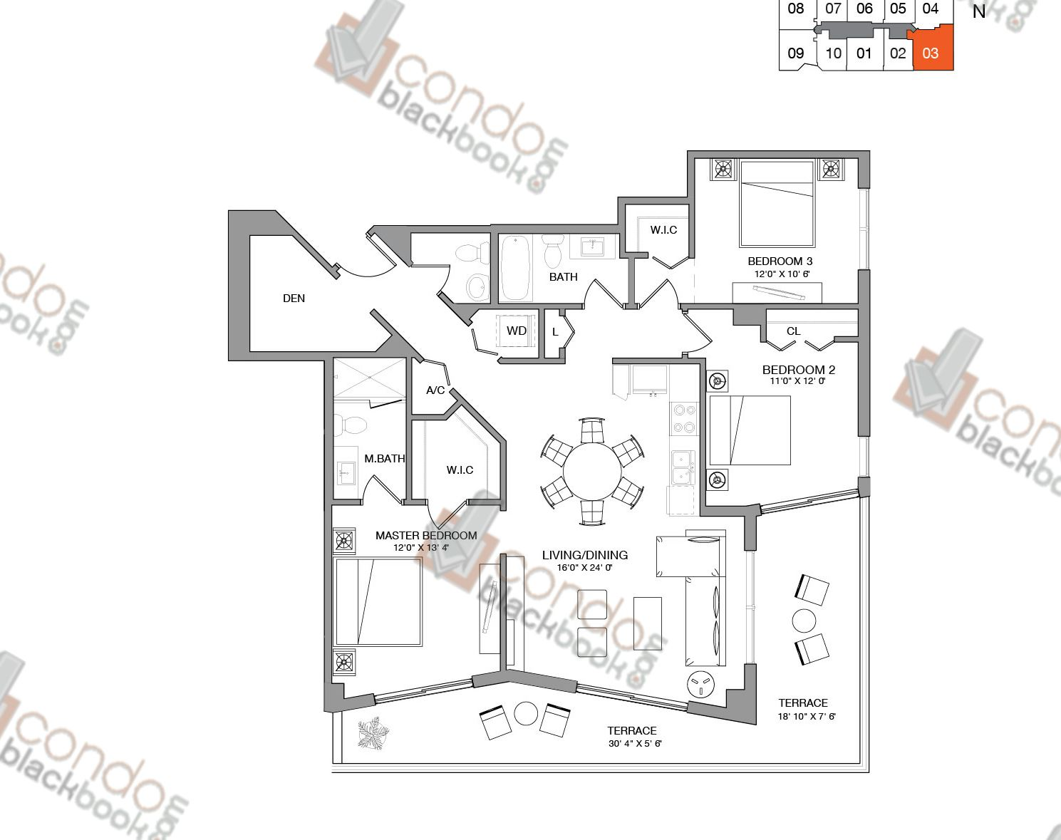 Floor plan for Brickell Ten Brickell Miami, model Residence Three, line 03, 3/2.5+Den bedrooms, 1,387 sq ft