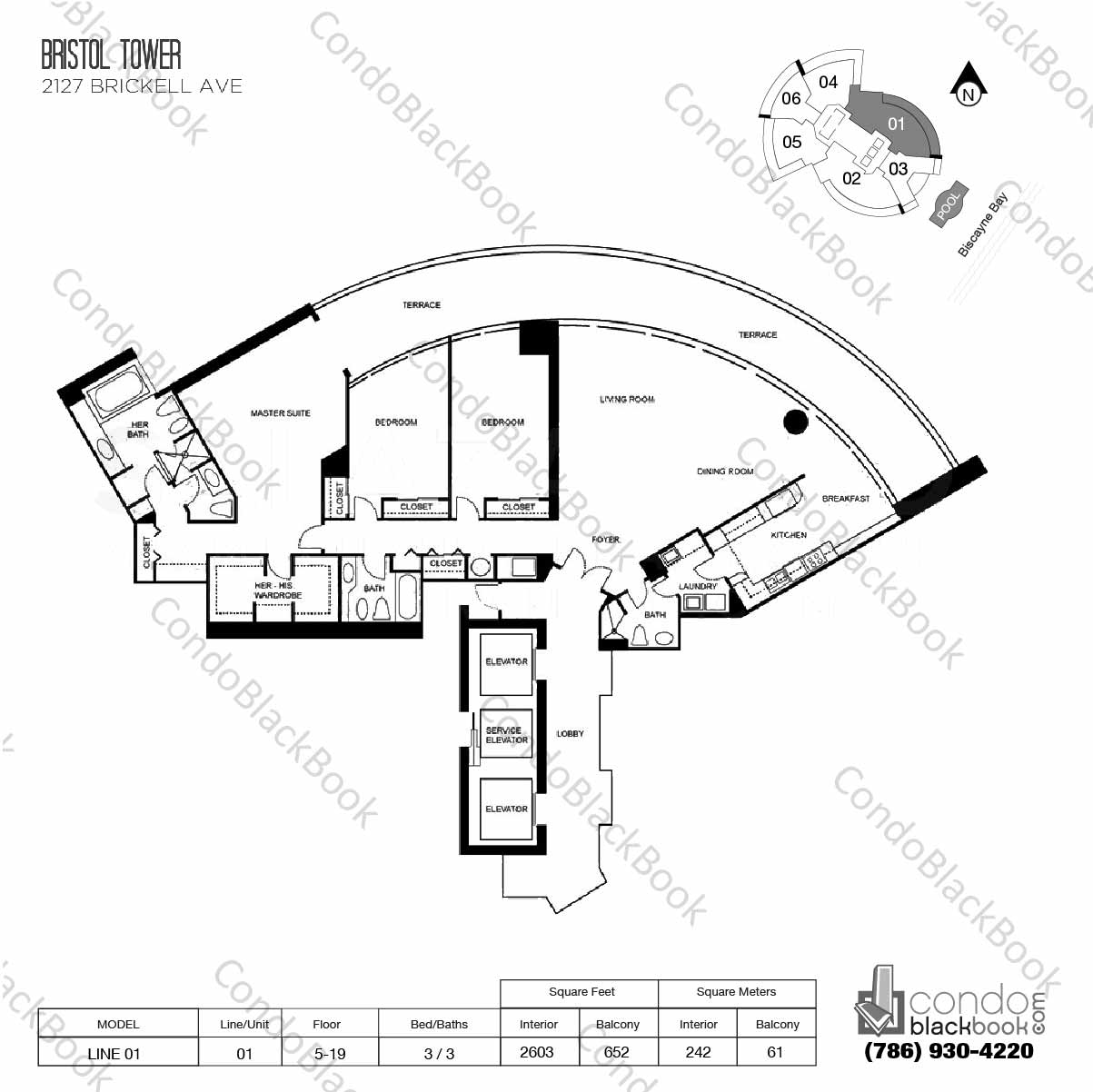 Floor plan for Bristol Tower Condominium Brickell Miami, model Line 01, line 01, 3 / 3 bedrooms, 2603 sq ft