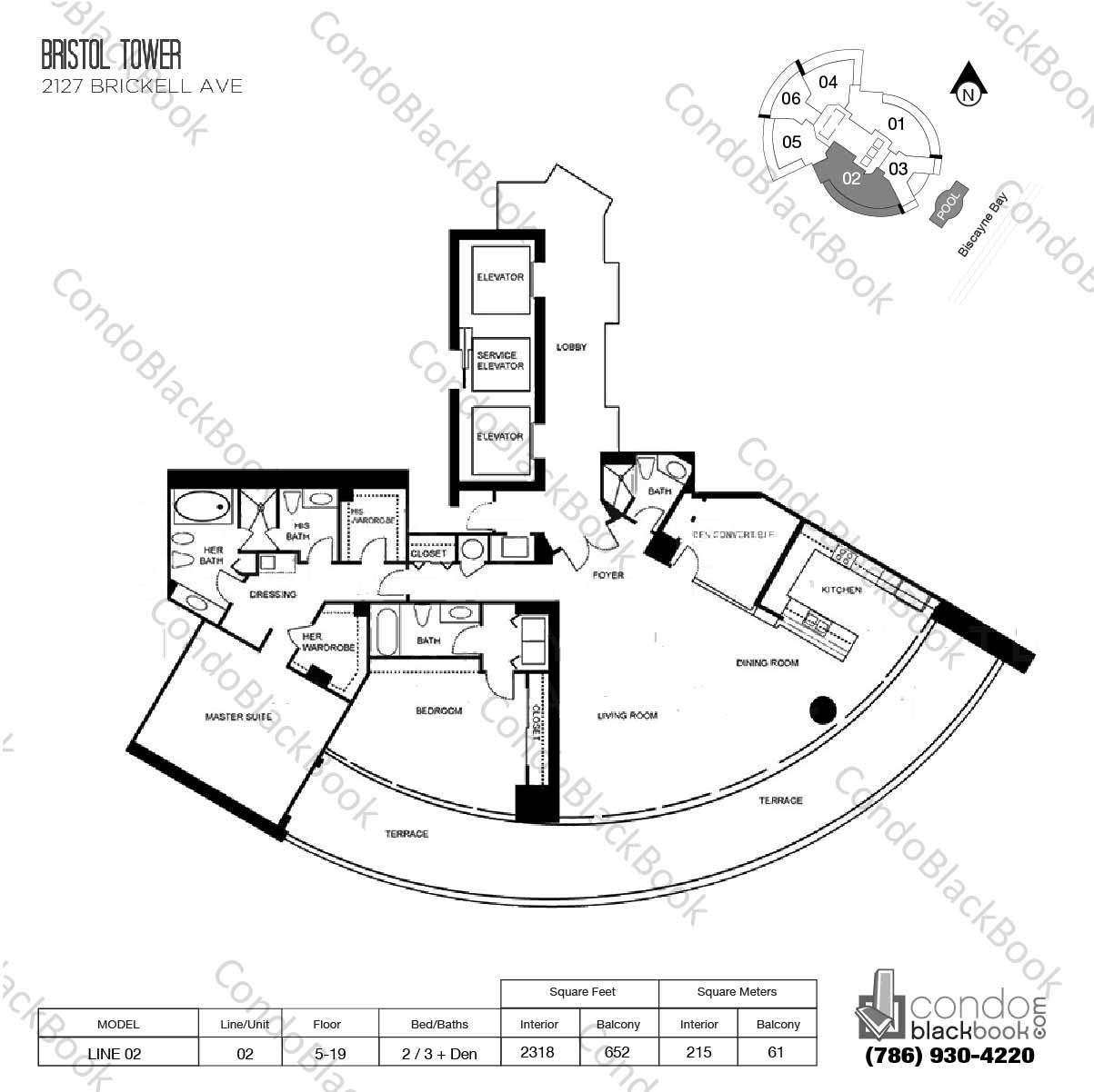 Floor plan for Bristol Tower Condominium Brickell Miami, model Line 02, line 02, 2 / 3 + Den bedrooms, 2318 sq ft