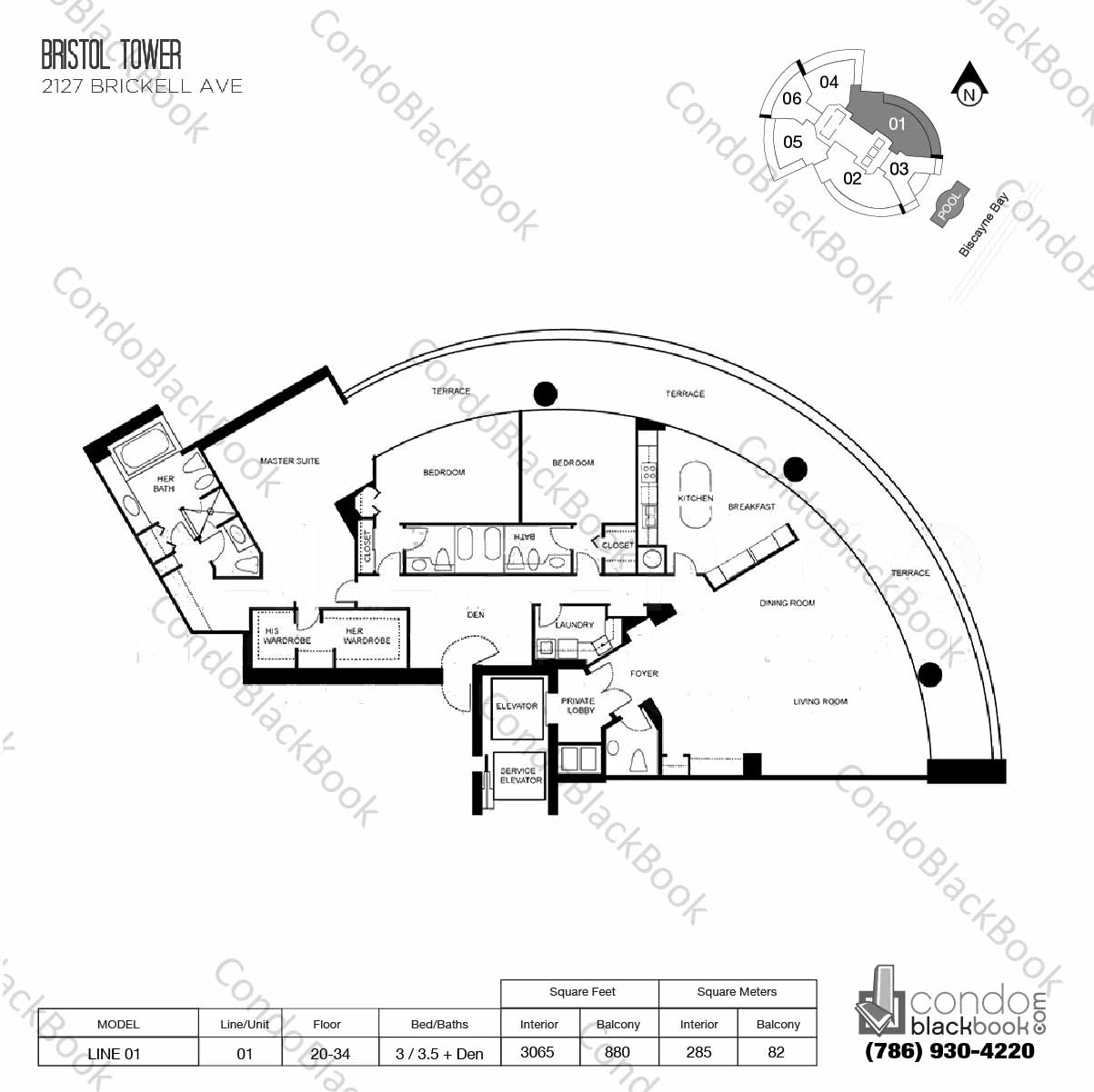 Floor plan for Bristol Tower Condominium Brickell Miami, model Line 01, line 01, 3 / 3.5 + Den bedrooms, 3065 sq ft