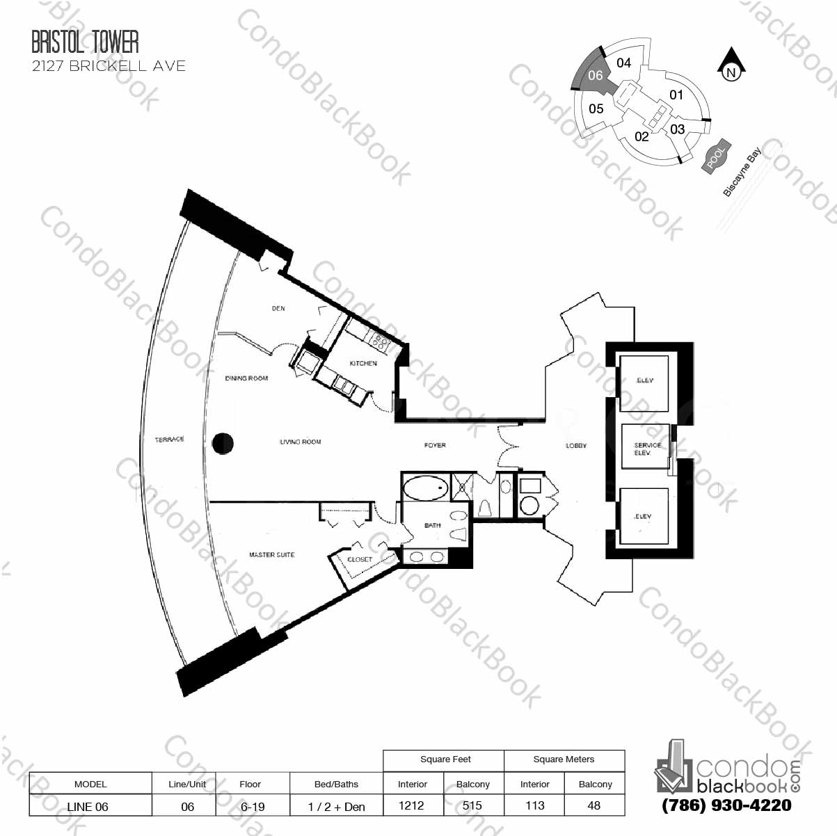 Floor plan for Bristol Tower Condominium Brickell Miami, model Line 06, line 06, 1 / 2 + Den bedrooms, 1212 sq ft