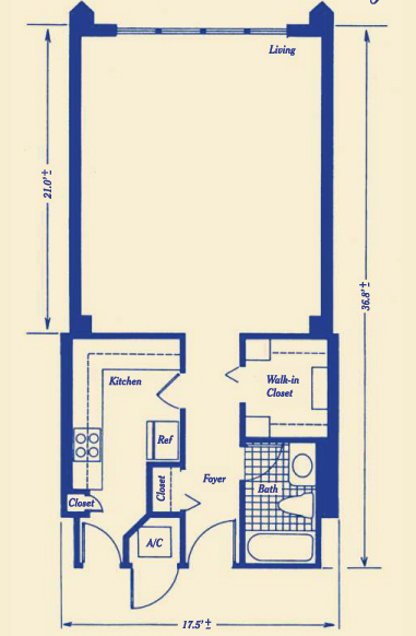 Floor plan for Four Ambassadors Brickell Miami, model 1, 0/1 bedrooms, 580 sq ft