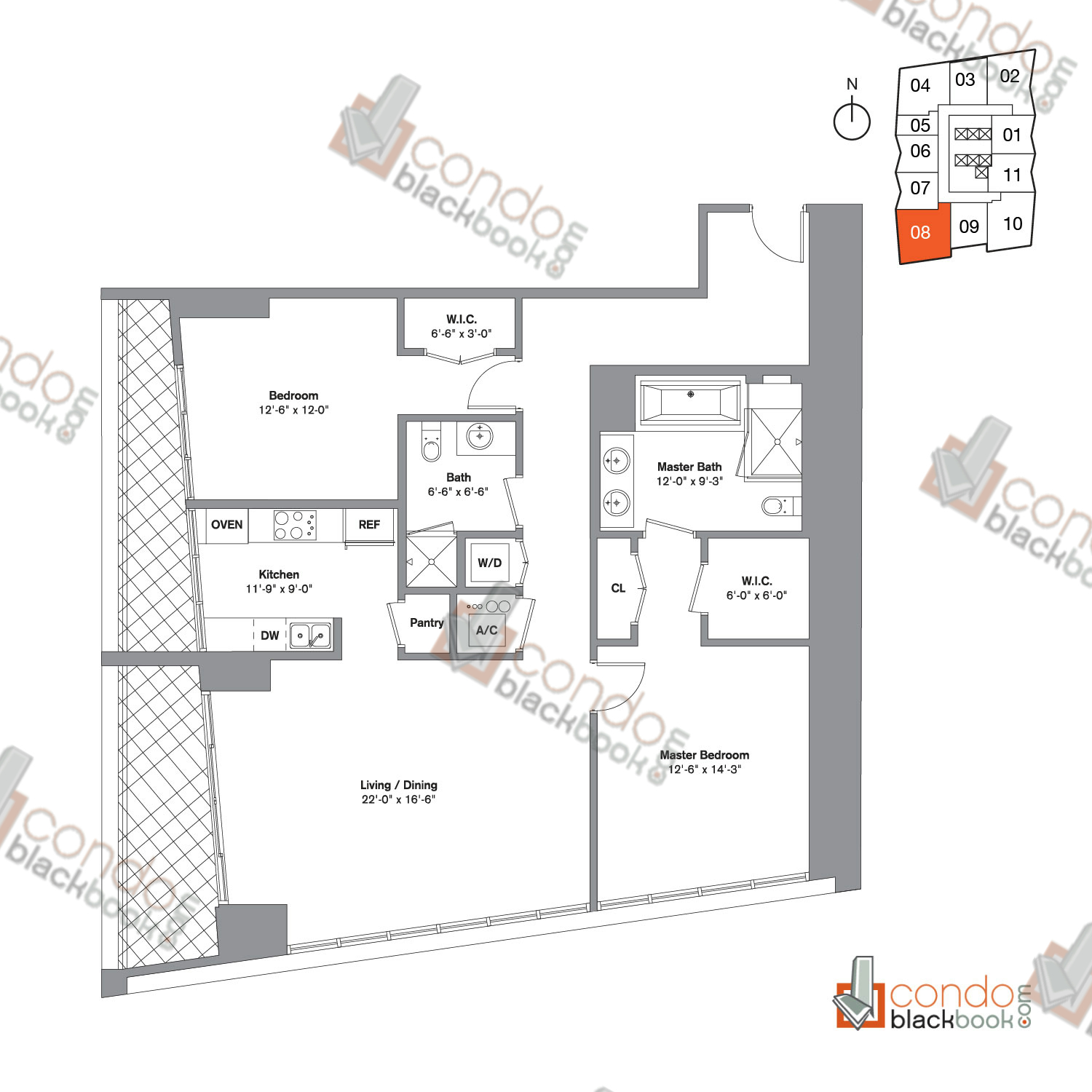 Floor plan for Icon Brickell Viceroy Brickell Miami, model Unit A, line 08,  2/2 bedrooms, 1,459 sq ft