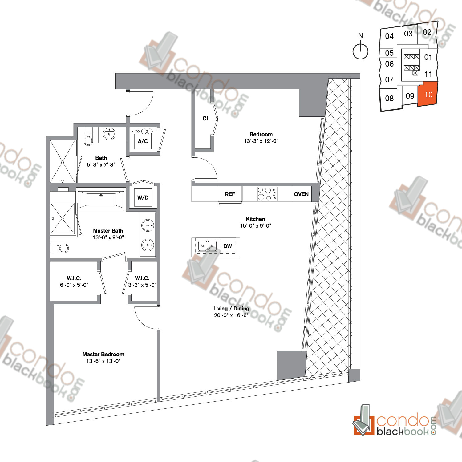 Floor plan for Icon Brickell Viceroy Brickell Miami, model Unit C, line 10,  2/2 bedrooms, 1,347 sq ft