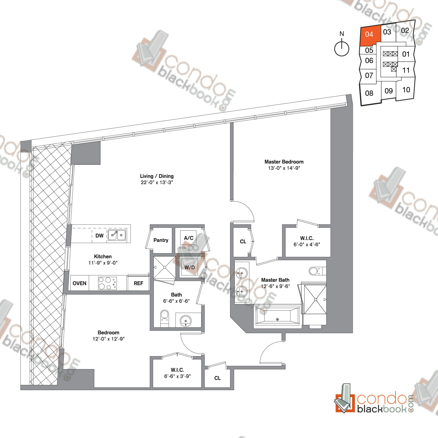 Floor plan for Icon Brickell Viceroy Brickell Miami, model Unit D, line 04,  2/2 bedrooms, 1,286 sq ft