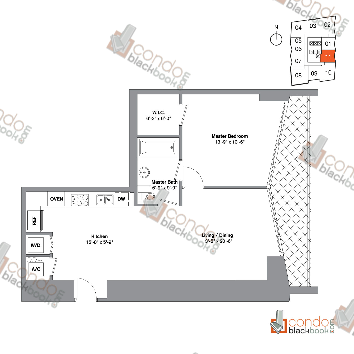 Floor plan for Icon Brickell Viceroy Brickell Miami, model Unit E, line 11, 1/1.5 bedrooms, 995 sq ft