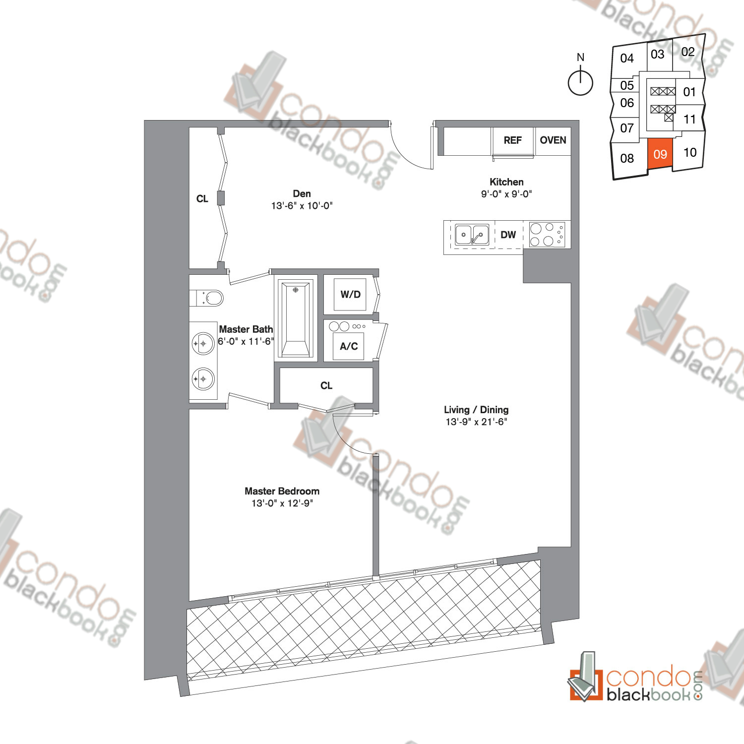 Floor plan for Icon Brickell Viceroy Brickell Miami, model Unit F, line 09, 1/1.5 bedrooms, 995 sq ft