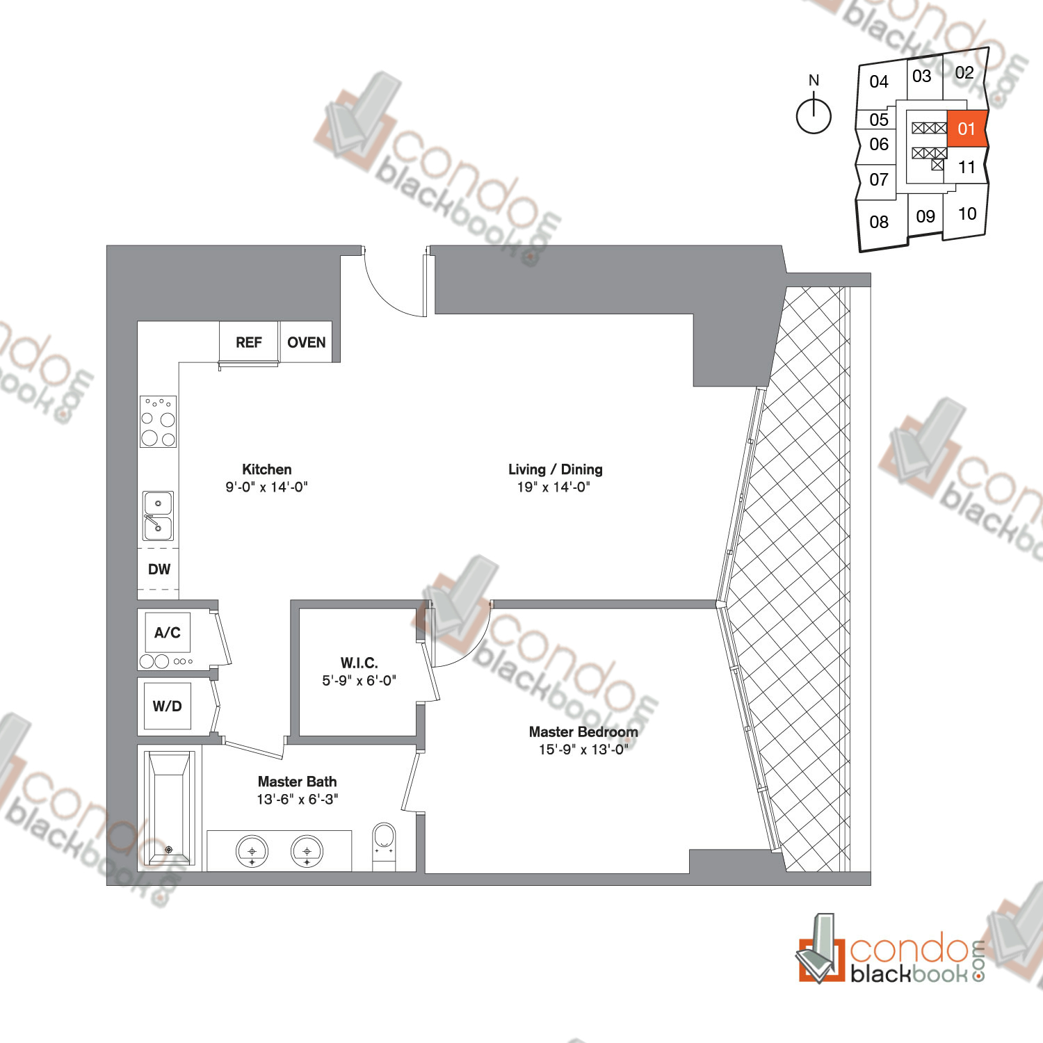 Floor plan for Icon Brickell Viceroy Brickell Miami, model Unit G, line 01, 1/1 bedrooms, 898 sq ft
