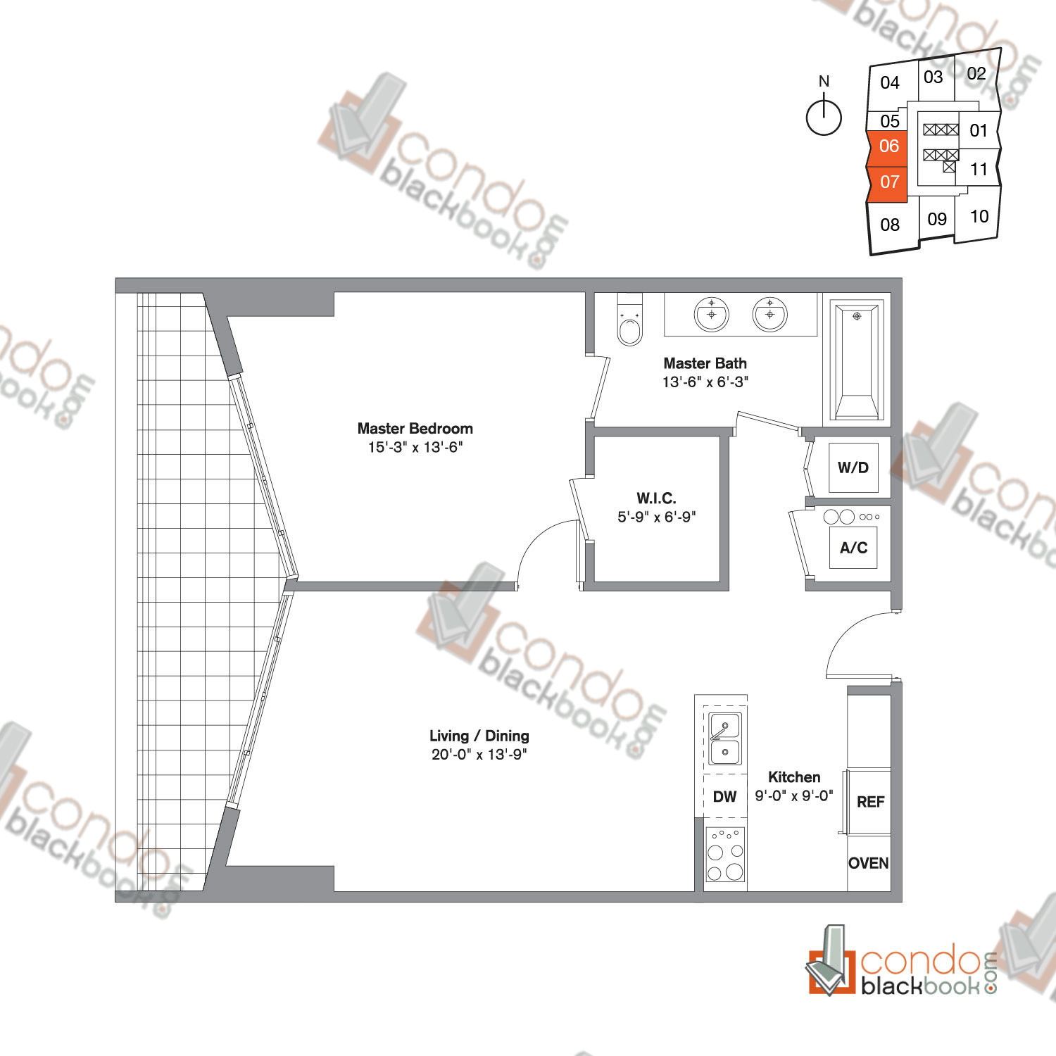 Floor plan for Icon Brickell Viceroy Brickell Miami, model Unit H, H-rev, line 06, 07, 1/1 bedrooms, 842 sq ft