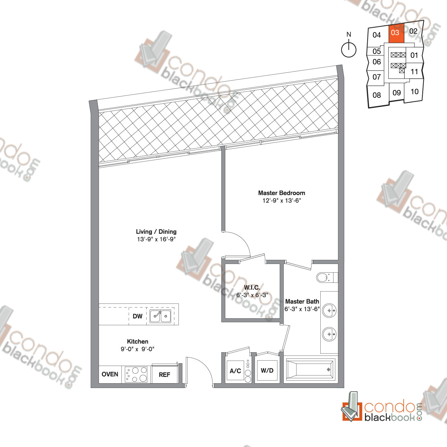 Floor plan for Icon Brickell Viceroy Brickell Miami, model Unit J, line 03, 1/1 bedrooms, 790 sq ft